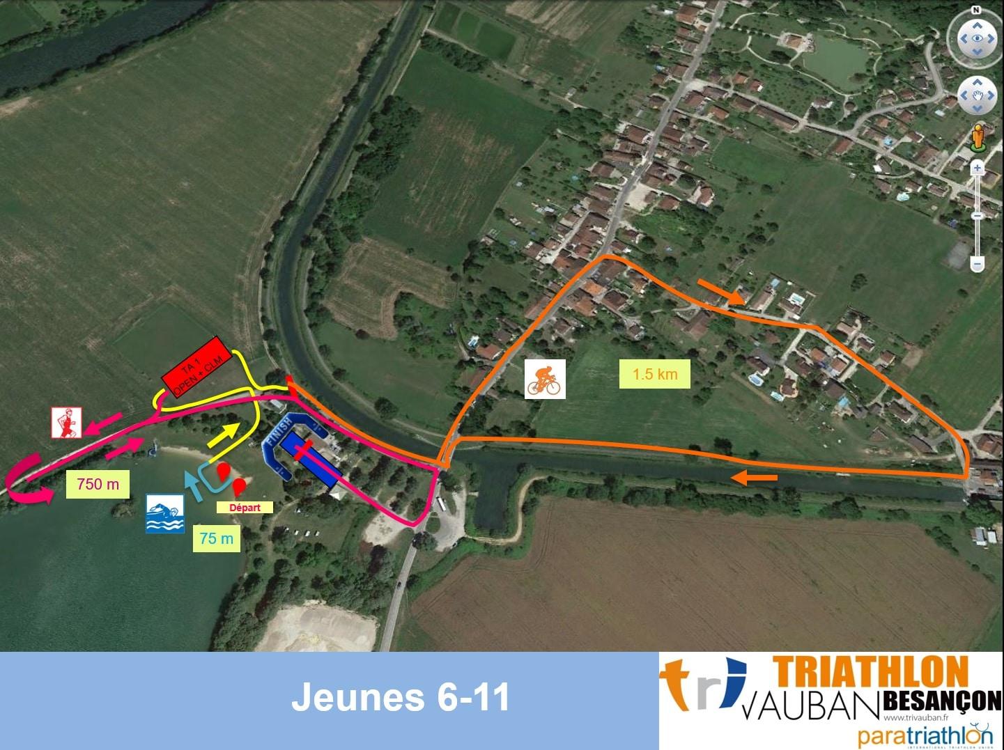 Parcours Course Jeunes 6-11 Ans Triathlon Vauban