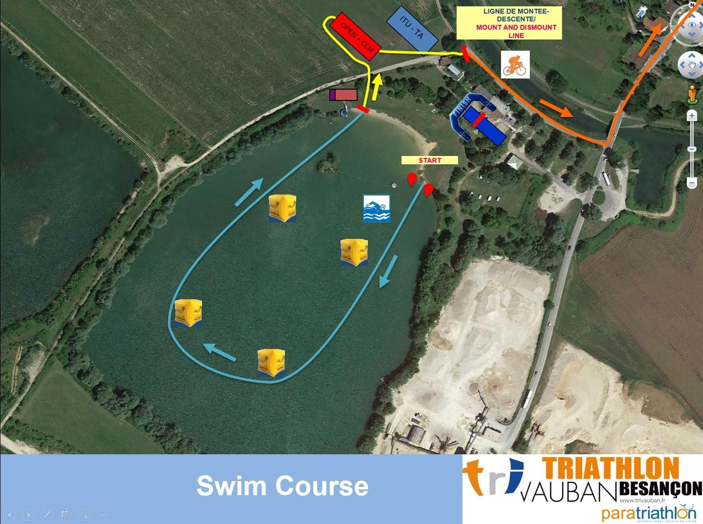 Parcours Natation du Contre La Montre Triathlon Vauban