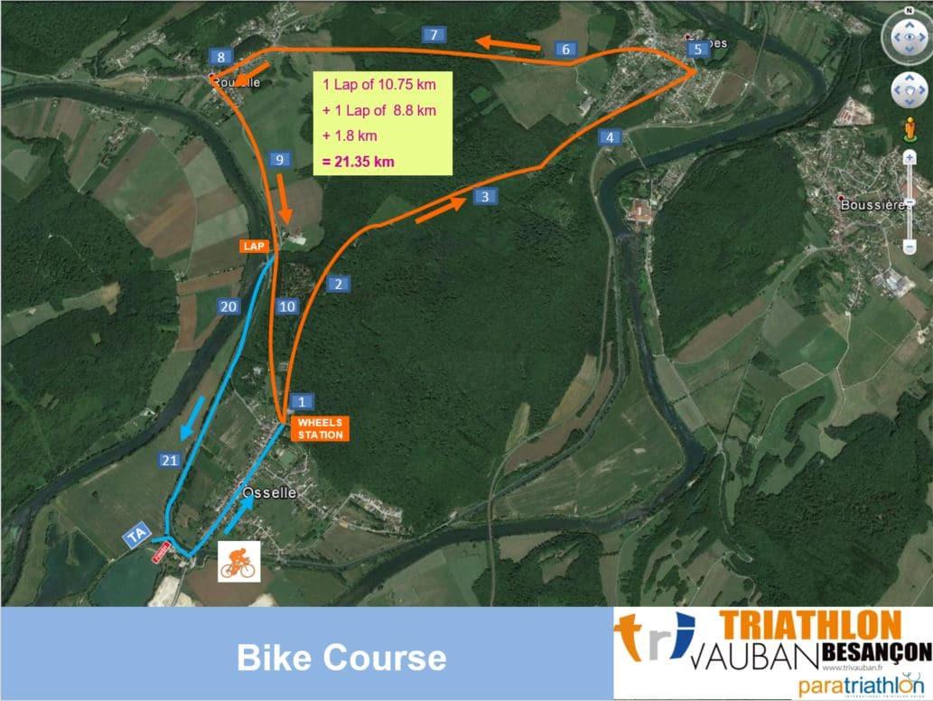 Parcours Velo du Contre La Montre Triathlon Vauban