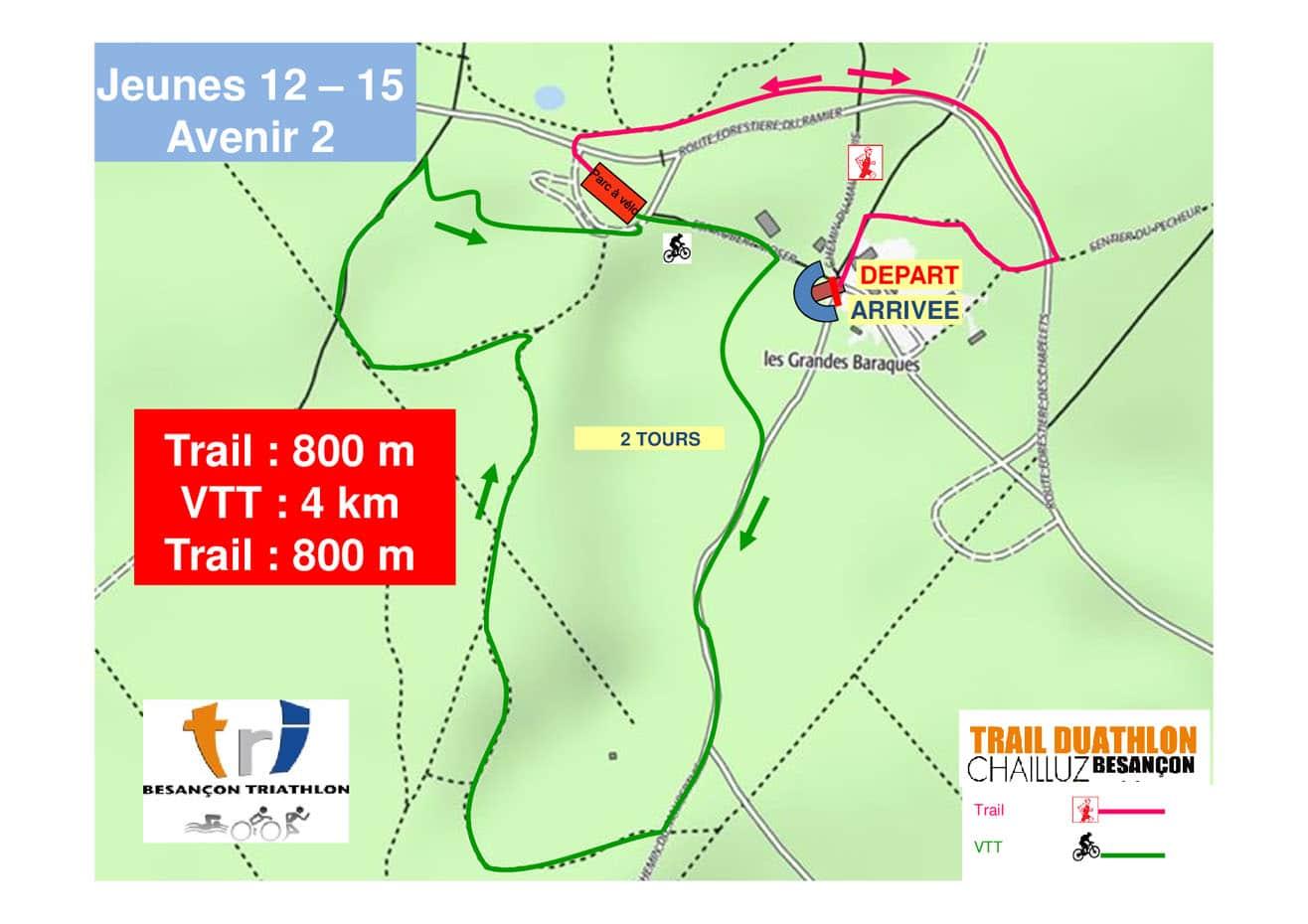 Parcours Course Jeunes 12 15 Ans Trail Duathlon Chailluz