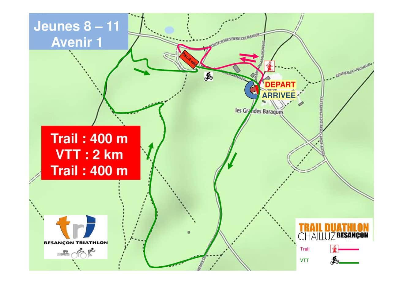 Parcours Course Jeunes 8 11 Ans Trail Duathlon Chailluz