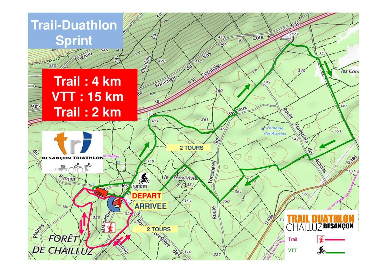 Parcours Sprint Relais Trail Duathlon Chailluz