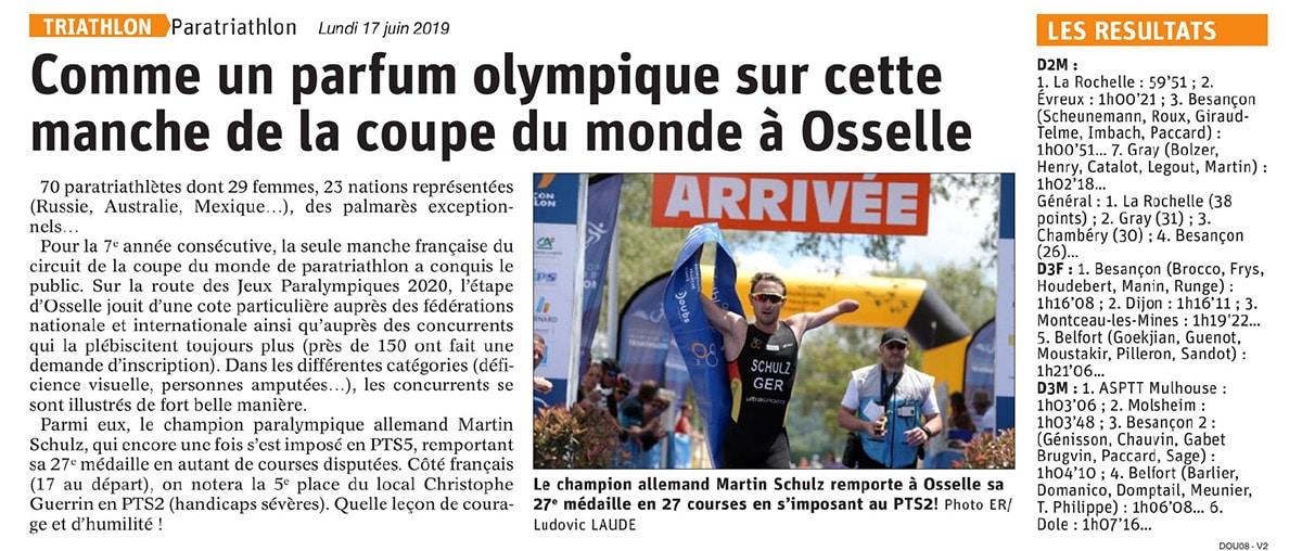 Est Republicain 17juin Triathlon Osselle2019 2
