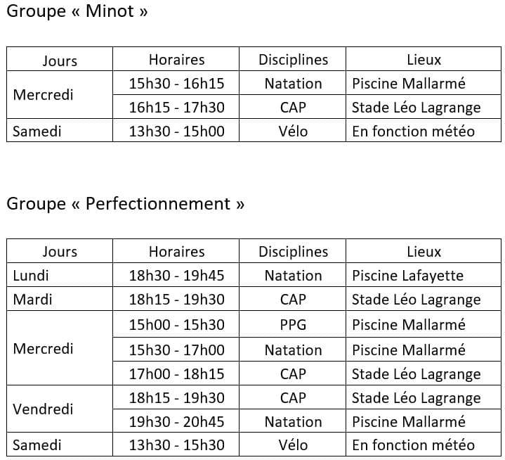 Planning Entraînements Jeunes Besançon Triathlon 1