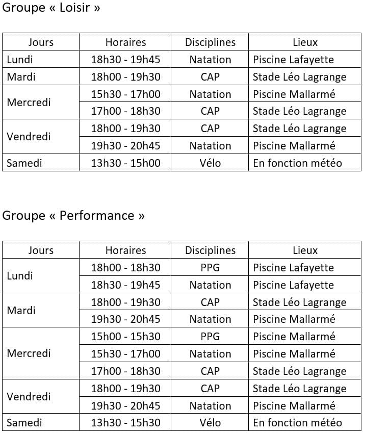Planning Entraînements Jeunes Besançon Triathlon 2